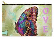 Butterfly In Beige And Teal Carry-all Pouch