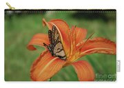 Butterfly On A Blooming Orange Daylily Flower Blossom Carry-all Pouch