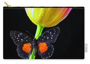 Butterfly On Yellow Pink Tulip Carry-all Pouch
