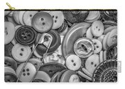 Buttons In Black And White Carry-all Pouch