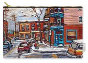Buy Original Wilensky Montreal Paintings For Sale Achetez Petits Formats Scenes De Rue Street Scenes Carry-all Pouch