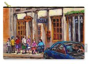 Outdoor Cafe Painting Vieux Montreal City Scenes Best Original Old Montreal Quebec Art Carry-all Pouch