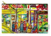 Caffe Italia And Milano Charcuterie Montreal Watercolor Streetscenes Little Italy Paintings Cspandau Carry-all Pouch