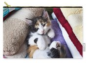 Calico Kitten On Towels Carry-all Pouch by Garry Gay