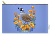 California Quail And Golden Poppies Carry-all Pouch by Crista Forest