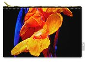 Canna Lilies On Black With Blue Carry-all Pouch