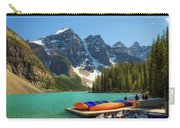 Canoes On A Jetty At  Moraine Lake In Banff National Park, Canada Carry-all Pouch
