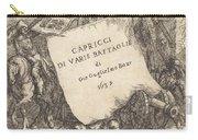 Capricci Di Varie Battaglie (title Page) Carry-all Pouch