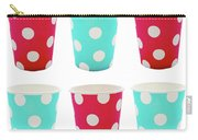 Card With Red And Blue Paper Disposable Glass In Polka Dot Isolated On White With Copy Space Carry-all Pouch