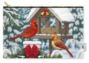 Cardinals Christmas Feast Carry-all Pouch by Crista Forest