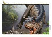 Carnotaurus Attacking An Antarctopelta Carry-all Pouch