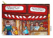 Carole Spandau Paints Montreal Memories - Montreal Landmarks - Schwartzs Hebrew Deli St. Laurent  Carry-all Pouch