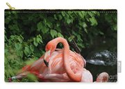Carribean Flamingo Bird Ruffling His Feathers Carry-all Pouch