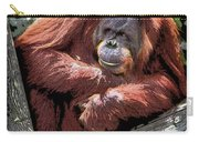 Cartoon Comic Style Orangutan Sitting In Tree Fork Carry-all Pouch