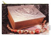 Carved Box In Aluminum. Silver Box And Red Necklace Carry-all Pouch