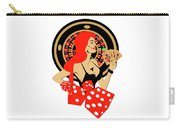 Casino Logo With Red Hair Girl, Dices, Roulette Wheel And Cards, Carry-all Pouch
