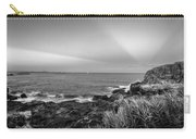 Castle Rock Beach Sunset Sunrays Marblehead Ma Black And White Carry-all Pouch