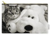 Cat And Dog In B W Carry-all Pouch