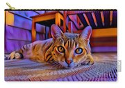 Cat Laying On Braided Rug Carry-all Pouch