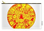 Cat Mandala Yellow And Red Carry-all Pouch