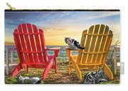 Cat Nap At The Beach Carry-all Pouch by Debra and Dave Vanderlaan