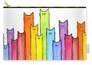 Cat Rainbow Watercolor Pattern Carry-all Pouch by Olga Shvartsur