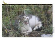 Cat Yawning In The Garden Carry-all Pouch