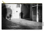 Catching Up On The News In Tarragona Spain Bw Carry-all Pouch