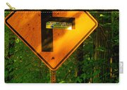 Caution T Junction Road Sign Carry-all Pouch