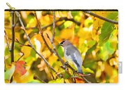 Cedar Waxwing In Autumn Leaves Carry-all Pouch