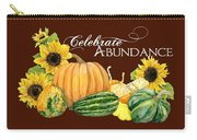 Celebrate Abundance - Harvest Fall Pumpkins Squash N Sunflowers Carry-all Pouch