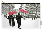Central Park Snow And Red Umbrellas Carry-all Pouch