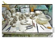 Ceramic Objects And Brushes On The Table Carry-all Pouch