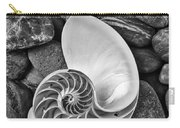 Chambered Nautilus Shell  On River Stones Carry-all Pouch