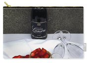 Champagne Bottle With Strawberry Tarts And 2 Glasses Carry-all Pouch