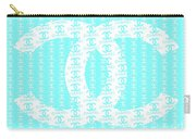 Chanel Logo Blue Teal White Carry-all Pouch