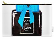 Chanel Perfume With Blue Ribble Carry-all Pouch