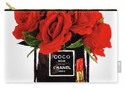 Chanel Perfume With Red Roses Carry-all Pouch
