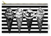 Chanel Print, Ice Cream On Stripes Carry-all Pouch