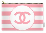 Chanel - Stripe Pattern - Pink - Fashion And Lifestyle Carry-all Pouch