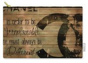 Chanel Wood Panel Rustic Quote Carry-all Pouch