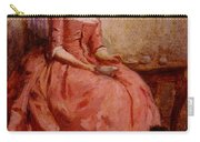 Chaplin Charles Girl In A Pink Dress Reading With A Dog Carry-all Pouch
