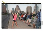 Cheerful Attractive Female Austinite Waves Her Hands With Excitement On Seeing The Austin Bats Carry-all Pouch