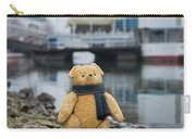 Cheerful Teddy Bear In Knitted Scarf Stand By The Riverside Beside The Port Carry-all Pouch