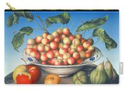 Cherries In Delft Bowl With Red And Yellow Apple Carry-all Pouch