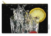 Cherries Splashing Into Sparkling Water Glass With Lemon Slice O Carry-all Pouch