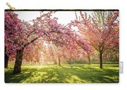 Cherry Flowers Garden Illuminated With Sunrise Beams Carry-all Pouch