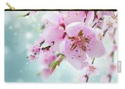 Cherry Tree Twig On Blue Carry-all Pouch
