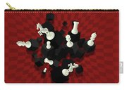 Chessboard And 3d Chess Pieces Composition On Red Carry-all Pouch