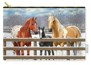 Chestnut Appaloosa Palomino Pinto Black Foal Horses In Snow Carry-all Pouch by Crista Forest